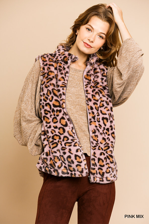 Animal Print Sleeveless Fuzzy Zip Front Vest with Pockets front