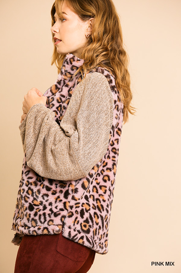 Animal Print Sleeveless Fuzzy Zip Front Vest with Pockets side close