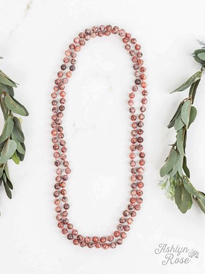 Back to the Basics All Natural Stone Bead Necklace orange jasper close