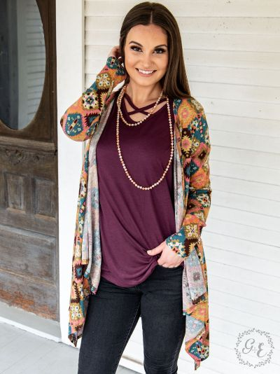 Cute bohemian/Aztec cardigan top close