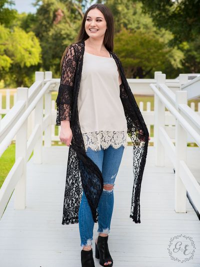 Delicate lace sheer duster black