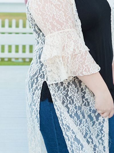 Delicate lace sheer duster plus size cream