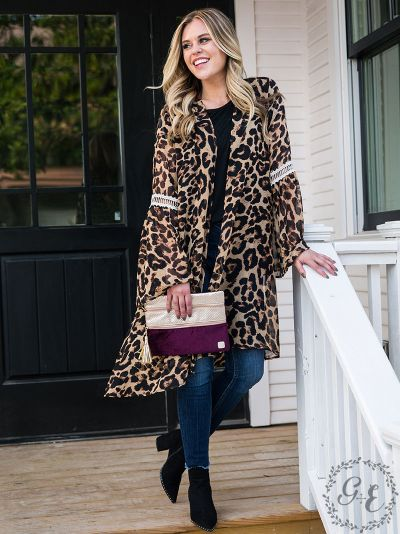 Leopard kimono with lace detail bell sleeves