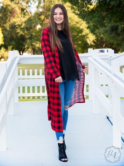 Long buffalo plaid long sleeve duster