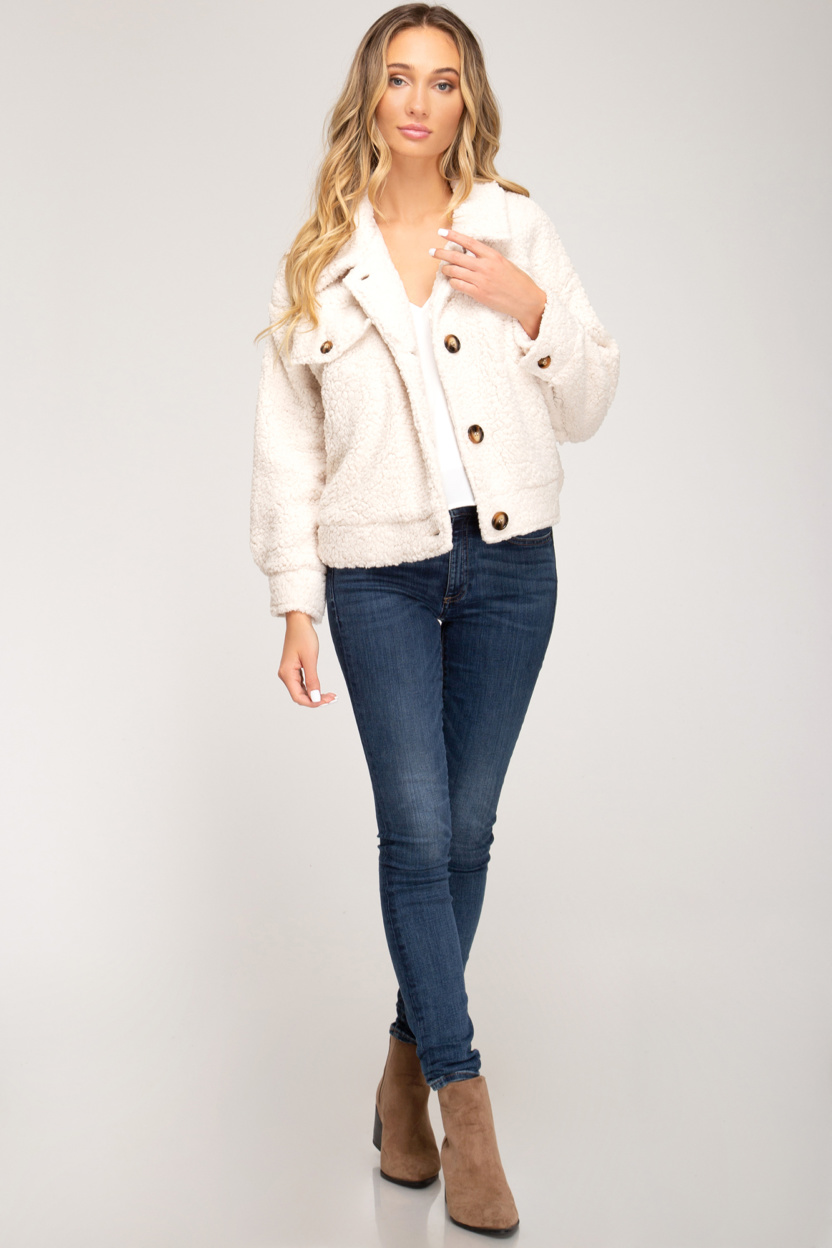 Long sleeve button down teddy bear jacket front pockets front