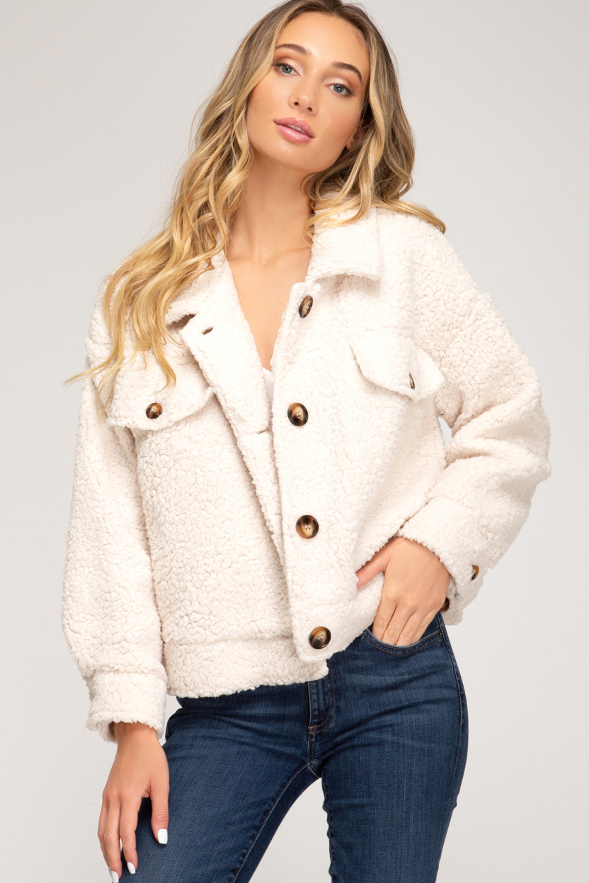Long sleeve button down teddy bear jacket front pockets front close