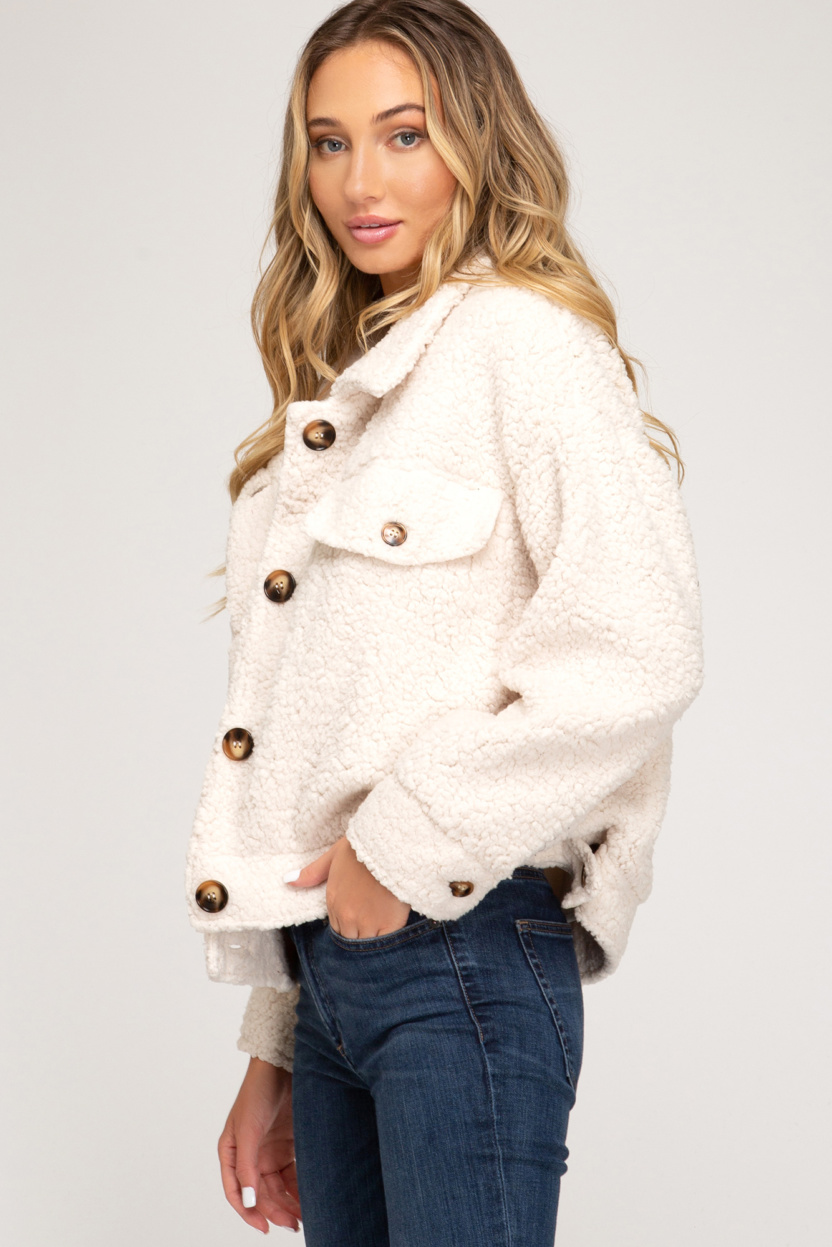 Long sleeve button down teddy bear jacket front pockets side