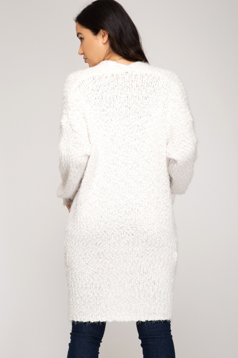 Long sleeve fuzzy sweater front open cardigan back