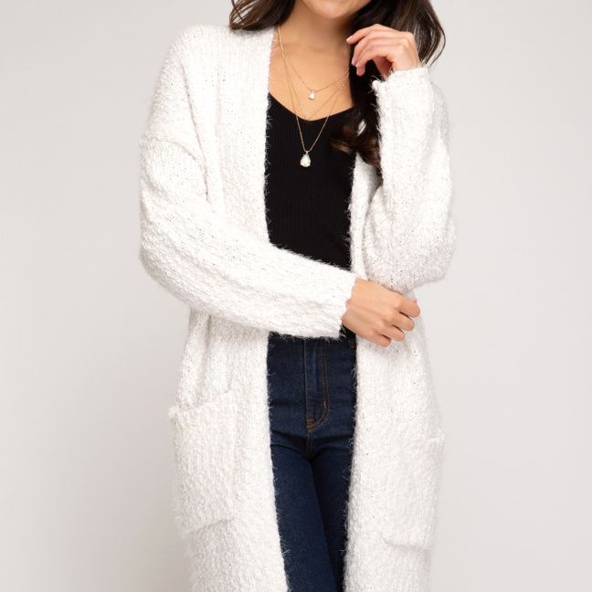 Long sleeve fuzzy sweater front open cardigan front