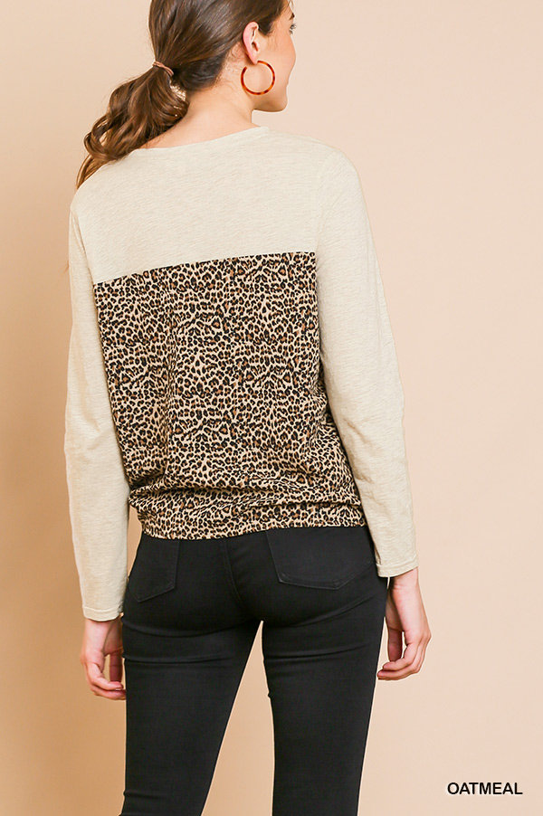 Long Sleeve Round Neck Animal Print Top Front Tie back