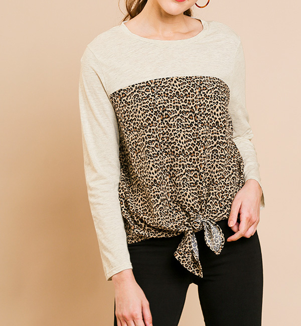 Long Sleeve Round Neck Animal Print Top Front Tie Front