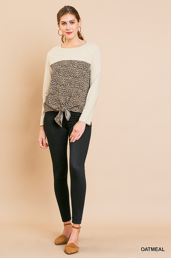 Long Sleeve Round Neck Animal Print Top Front Tie full