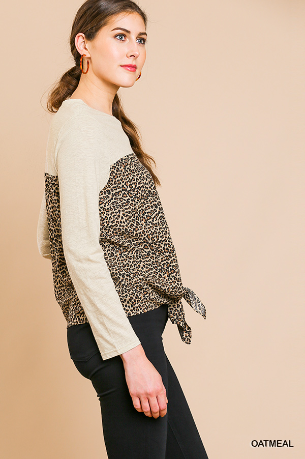 Long Sleeve Round Neck Animal Print Top Front Tie side