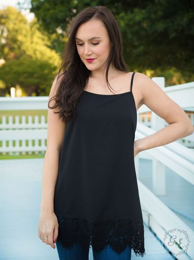 Perfectly paired cami tank top black