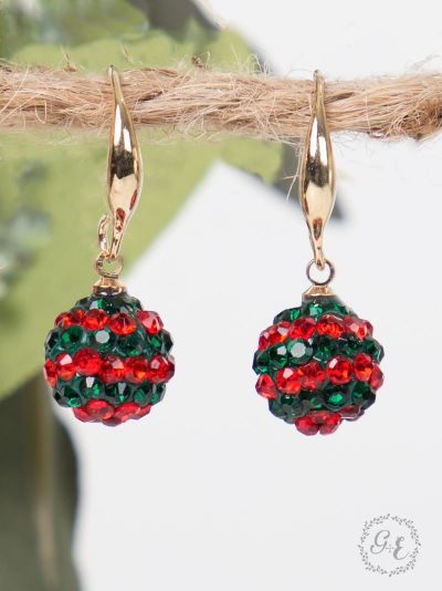 Red and green rhinestone ball drop earrings in gold setting