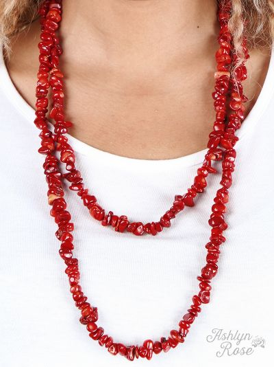 Rock steady coral natural stone double wrap necklace