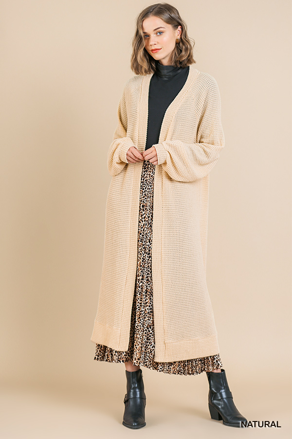 Waffle Knit Long Puff Sleeve Open Front Long Cardigan Sweater front