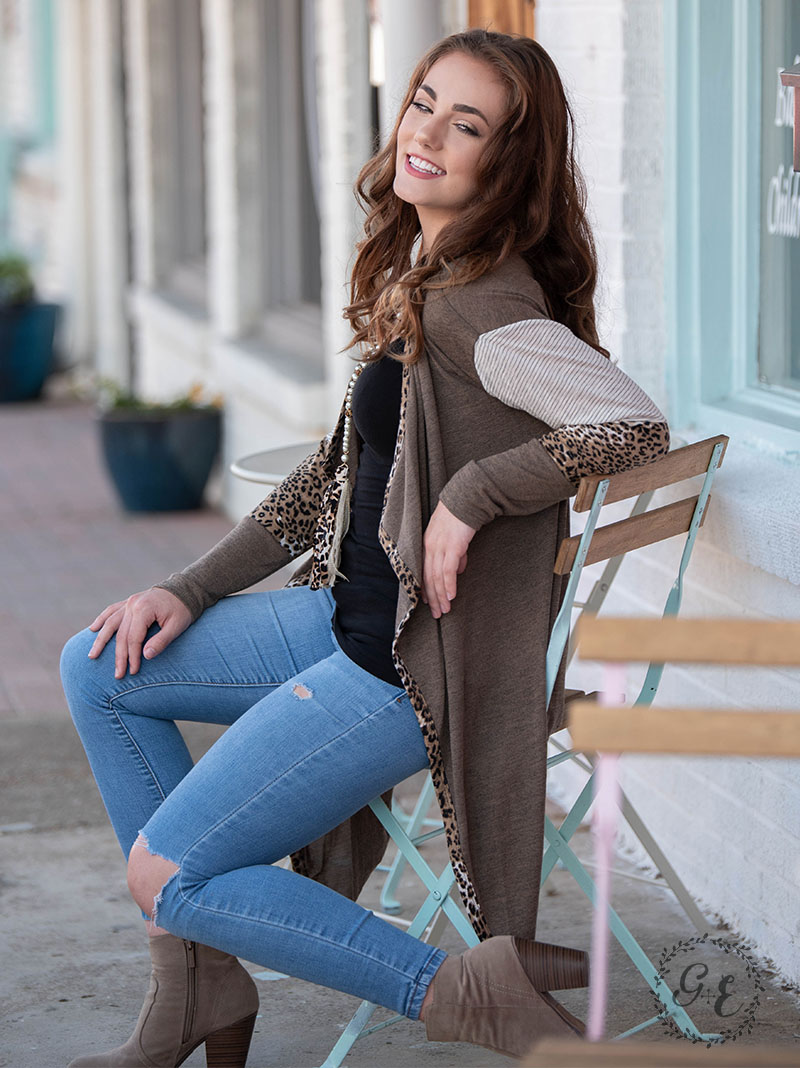 Your favorite cardigan with leopard and stripe detail