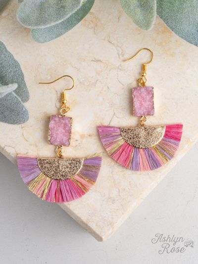 Fan club drop earrings with druzy stone