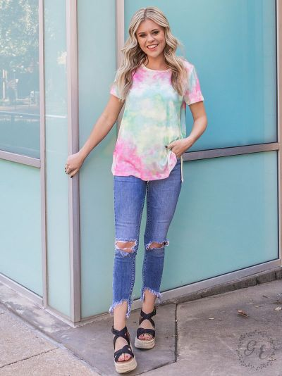 Seaside bliss tie-dye tee with caged black detail full