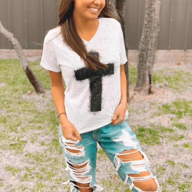 Splatter paint cross v-neck tee