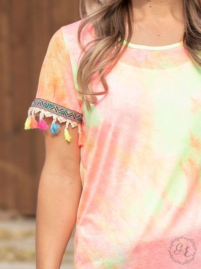 Sunny days tie-dye top neon embroidery fringe sleeves sleeve front