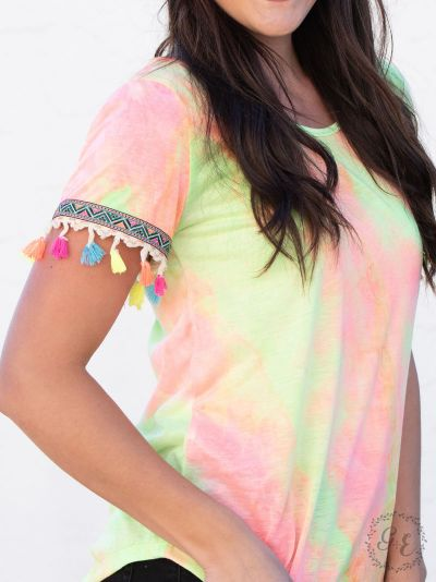Sunny days tie-dye top neon embroidery fringe sleeves sleeve side