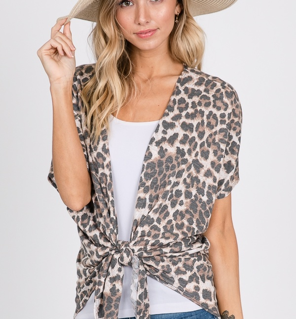 Animal print cardigan tie top front
