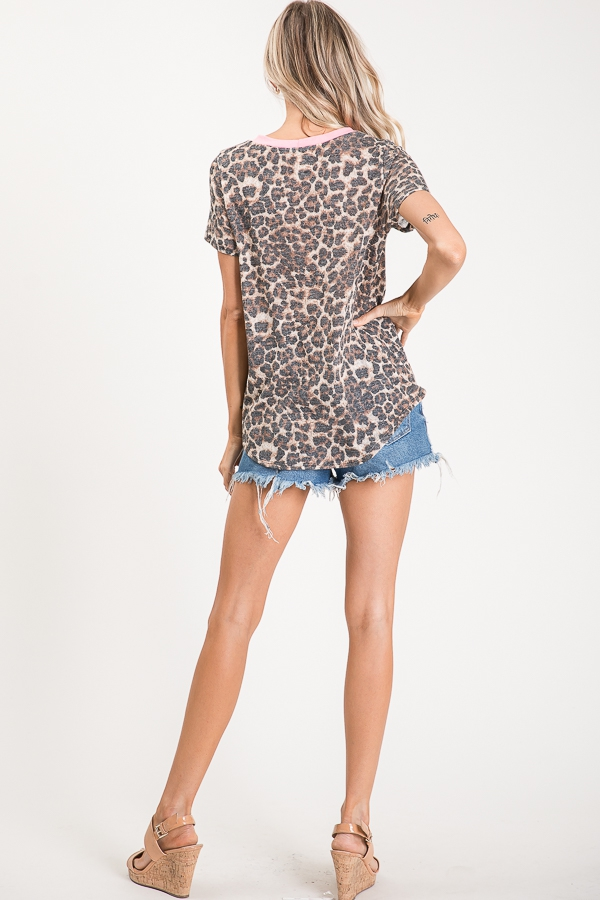 Animal print knotted top pocket back