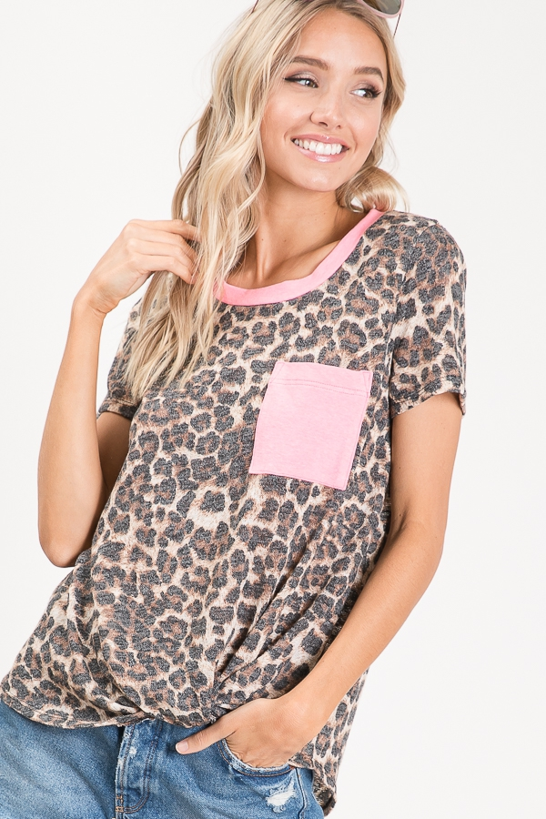 Animal print knotted top pocket front