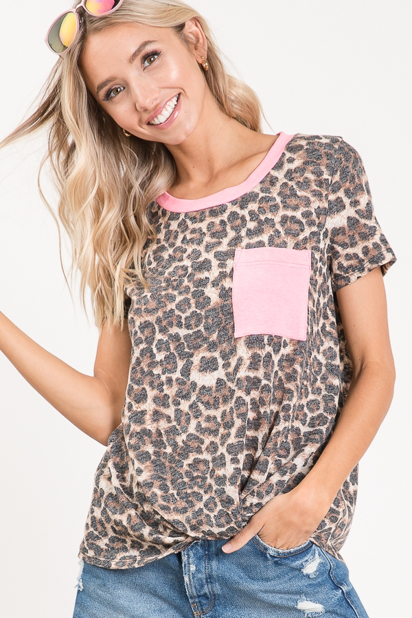 Animal print knotted top pocket front close