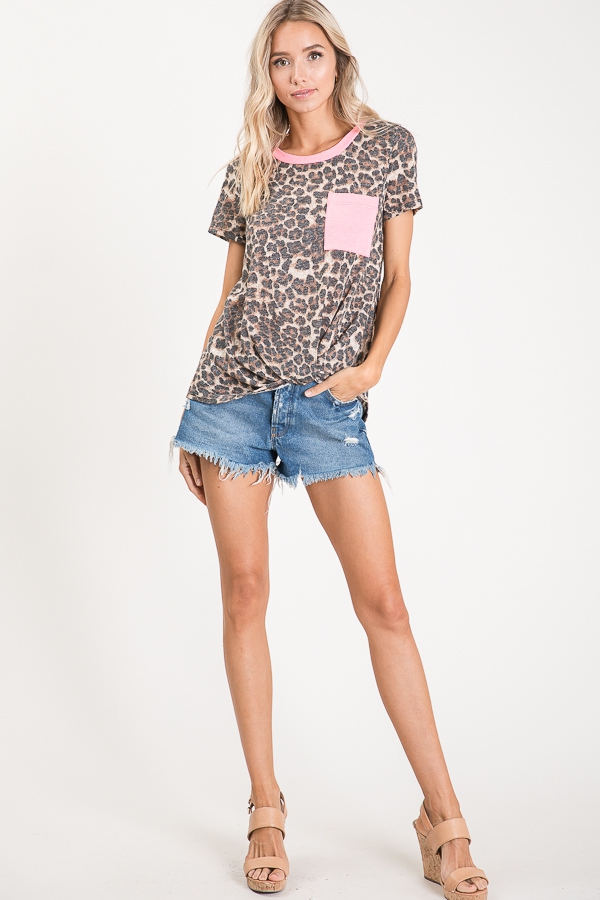 Animal print knotted top pocket full