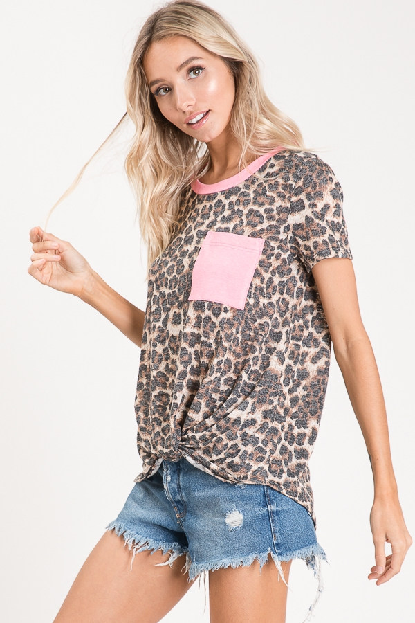 Animal print knotted top pocket side