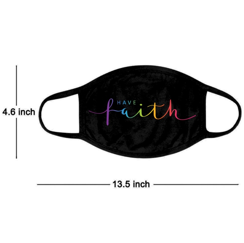 Have faith colored face dust mask measurement