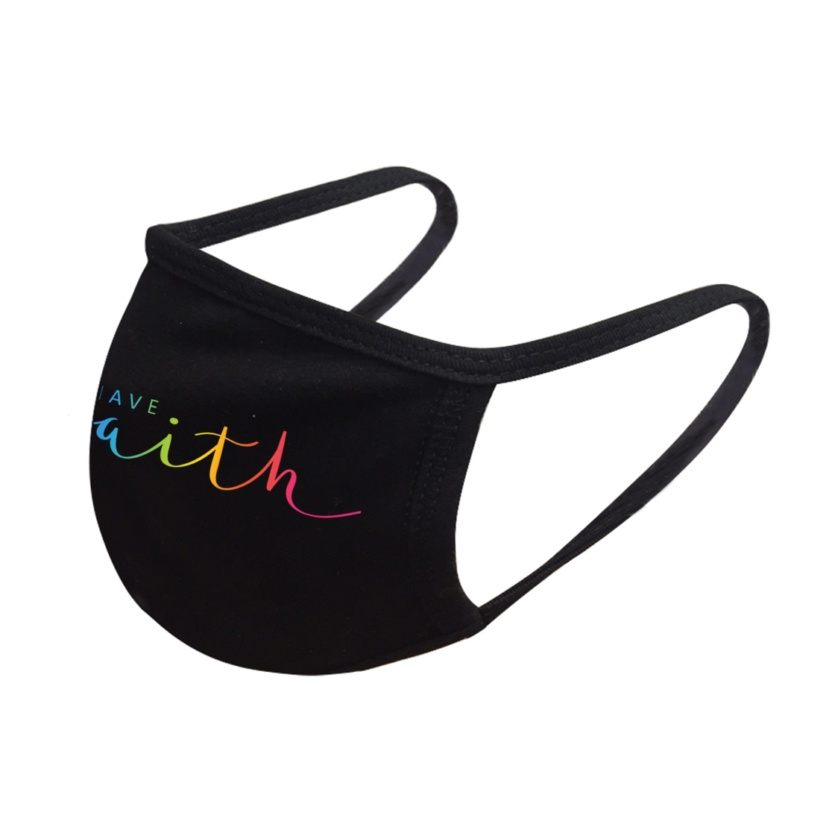 Have faith colored face dust mask side