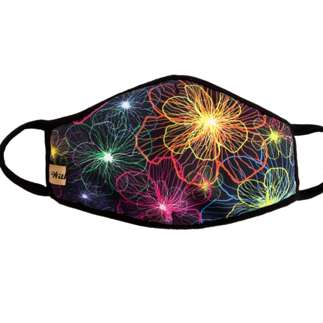 Black electric floral face mask
