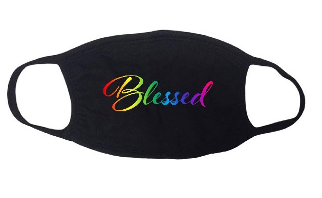 Blessed colorful stretchy designer faith-based face mask