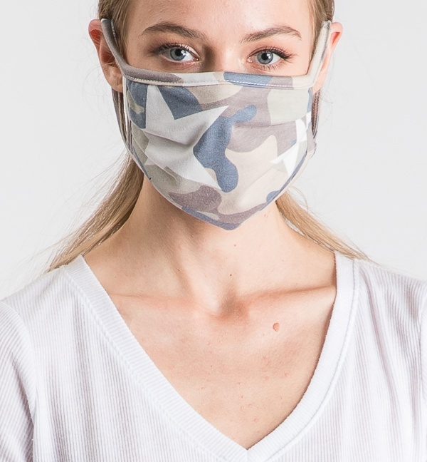 Camo star print double-layer face mask with filter slot