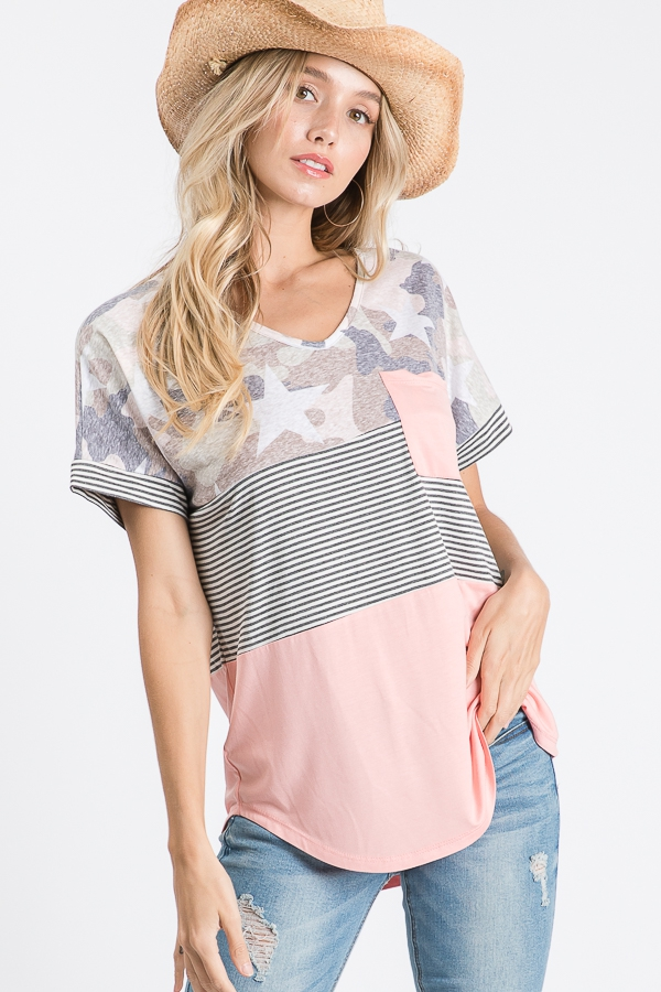 Color block pocket top with stars