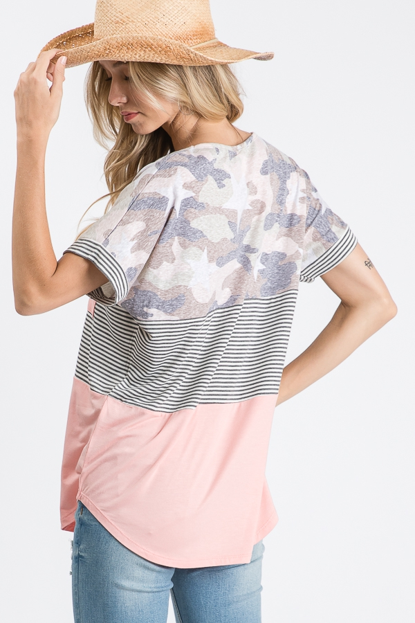 Color block pocket top with stars back