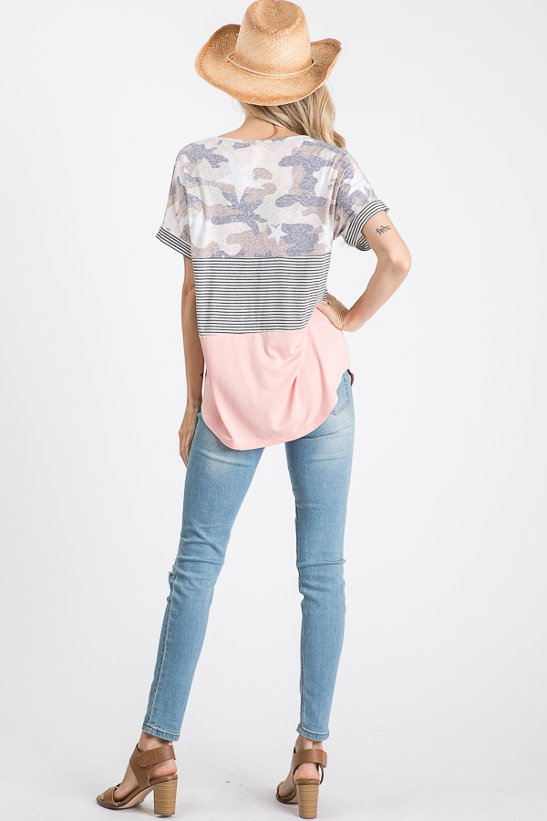 Color block pocket top with stars full