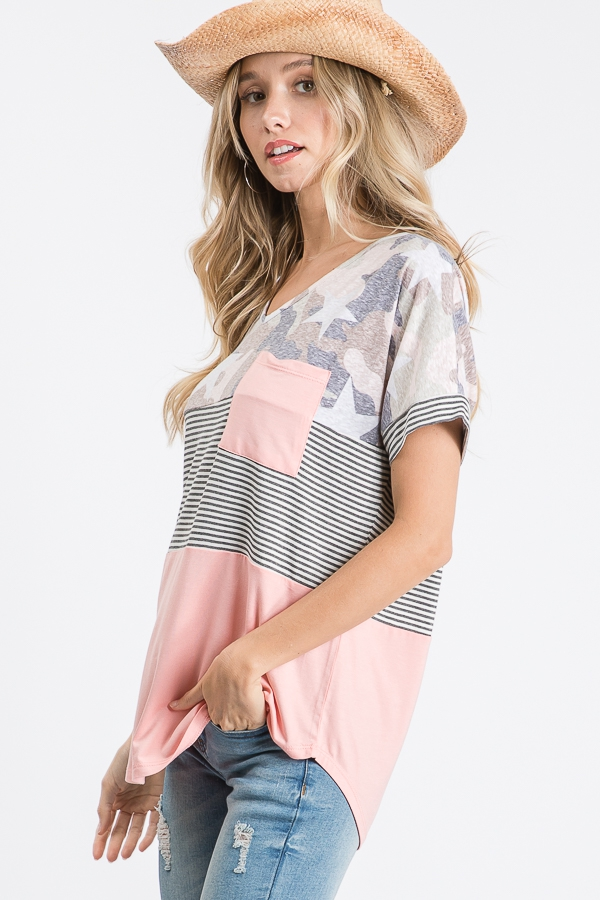 Color block pocket top with stars side