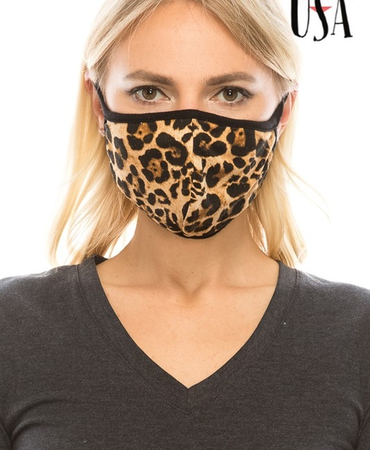 Double-layer animal print reusable face mask with filter pocket