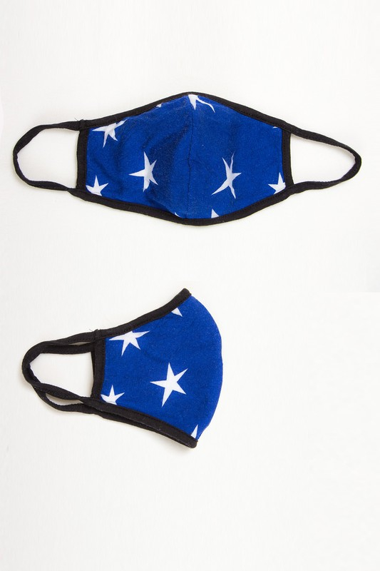 Double-layer stars on solid reusable face mask with filter pocket blue