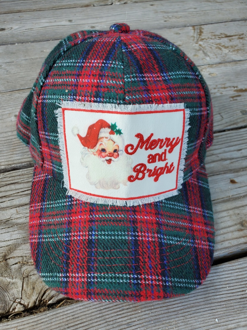 Merry and Bright Christmas hat with Santa