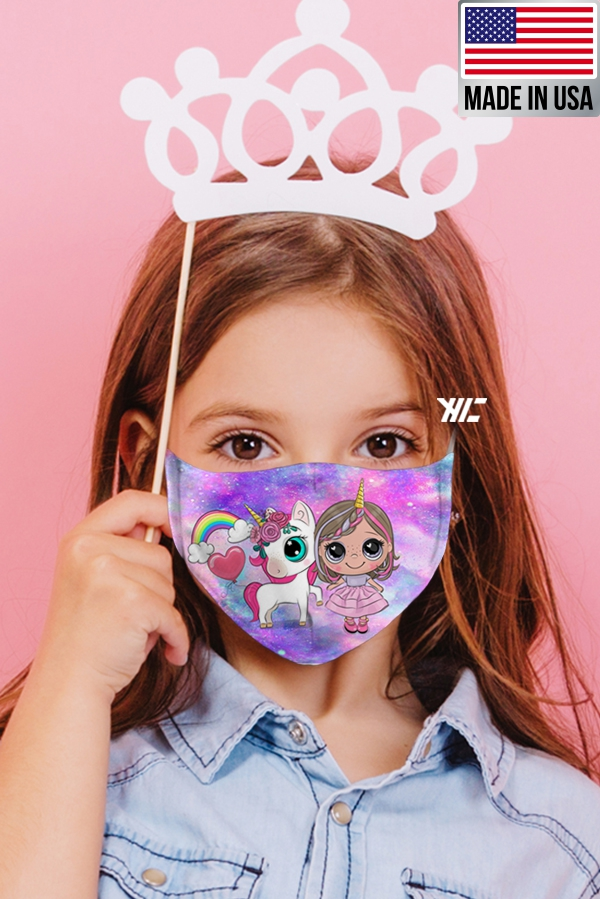 Children's face mask - Unicorn design washable mask - girl unicorn