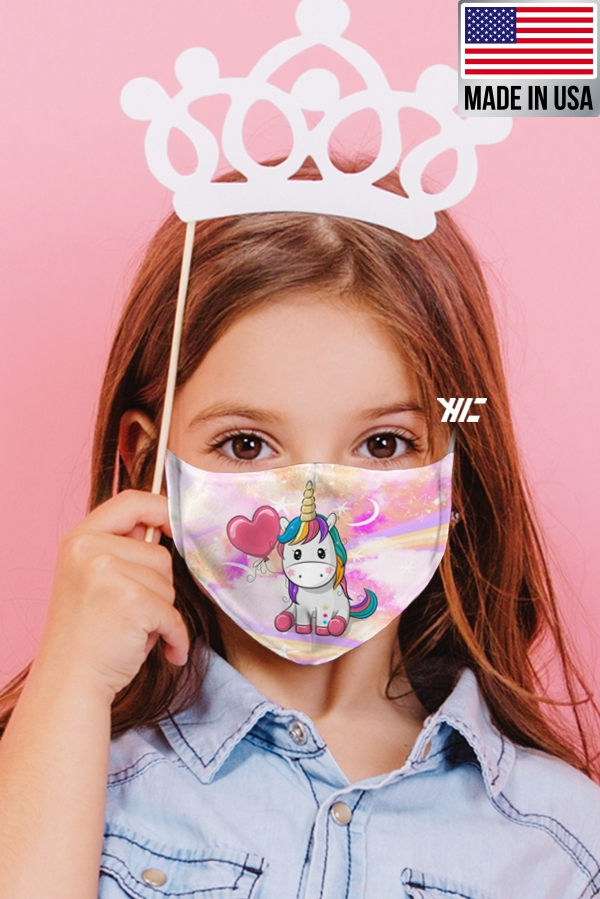 Children's face mask - Unicorn design washable mask - heart balloon