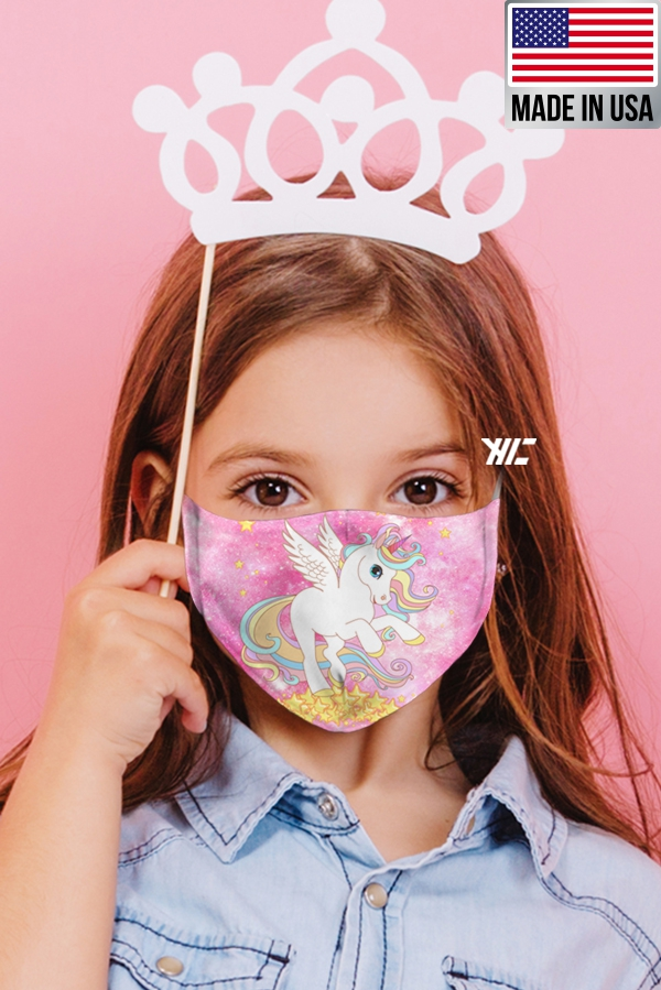 Children's face mask - Unicorn design washable mask - unicorn fly