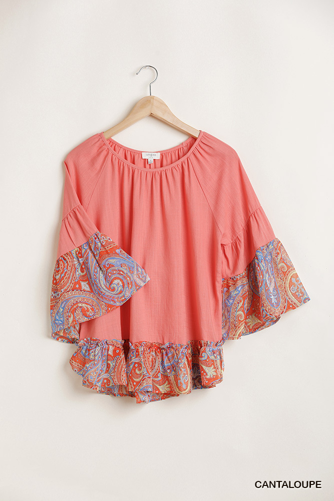 Umgee Paisley Top - Umgee 3/4 Sleeved Top with Paisley Print Details