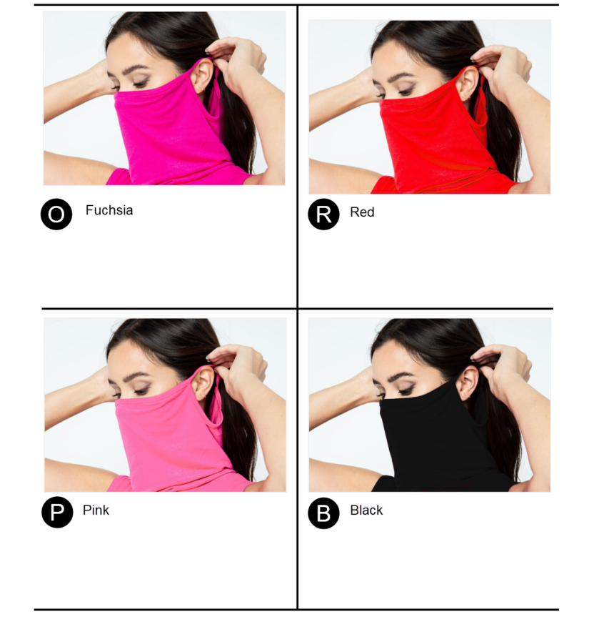 Sleeveless Jersey Knit Top with Cowl Neck and Built-in Face Mask - Fuchsia, Red, Pink, or Black